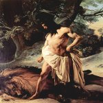 Francesco Hayez (1791-1882)  Samson and the Lion  Oil on canvas, 	1842  210 × 162 cm  Galleria d'Arte Moderna, Florence