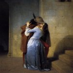 Francesco Hayez (1791-1882)  The Kiss  Oil on canvas, 1859  110 × 88 cm (43.31 × 34.64 in)  Pinacoteca di Brera,Milano, Italy