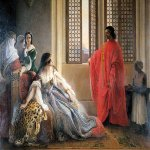 Francesco Hayez (1791-1882)  Caterina Cornaro Deposed  the Throne of Cyprus  Oil on canvas, 1842  47 5/8 x 59 3/8 inches (121 x 151 cm)  Accademia Carrara, Bergamo, Italy