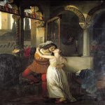 Francesco Hayez (1791-1882)  The Last Kiss of Romeo and Juliet  Oil on canvas, 1823  114 1/2 x 79 3/8 inches (291 x 201.8 cm)  Villa Carlotta, Tremezzo (Como), Italy