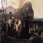 Francesco Hayez (1791-1882)  The Refugees of Parga  Oil on canvas, 1831  79 1/8 x 114 1/8 inches (201 x 290 cm)  Pinacoteca Civica, Cento