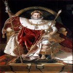 Jean Auguste Dominique Ingres (1780 - 1867)  Napoleon I on his Imperial Throne  Oil on canvas, 1806  259 cm × 162 cm (102 in × 64 in)  Musée de l'Armée, Hôtel des Invalides, Paris, France