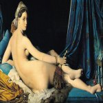 Jean Auguste Dominique Ingres (1780 - 1867)  Grande Odalisque (Une Odalisque or La Grande Odalisque)  Oil on canvas, 1814  108 cm × 108 cm (43 in × 43 in)  Louvre, Paris, France