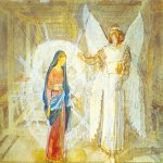 Ivanov Alexander Andreevich (1806 - 1858)  The Annunciation  Paper, watercolor, white, 1850  26х39 cm  The State Tretyakov Gallery, Moscow, Russia