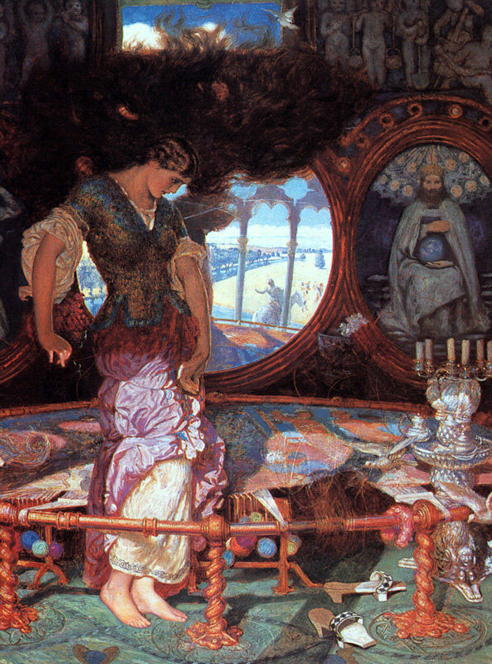 lady of shallot The lady of shalott, having been started around 1886, was william holman hunts last and greatest work, as it was completed in 1905 when his eyesight began to fail hunt depicted the fatal moment when the lady sees the reflection of sir lancelot in the mirror and looks out the.