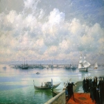 Ivan Konstantinovich Aivazovsky (1817 - 1900) Visit Byron Mkhitarists on the island of St.Lazarus in Venice Oil on canvas, 1899 133 x 218 cm (52.36