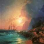 On the island of Crete.   1867  Oil on canvas. 99h120 see Feodosia. Feodosia art gallery them. IK Aivazovsky.