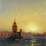 "Ivan Konstantinovich Aivazovsky (1817 - 1900) Type Leandrovoy Tower in Constantinople Oil on canvas, 1848 58 x 45.3 cm (22.83"" x 17.83\"") The State Tretyakov Gallery, Moscow, Russia"