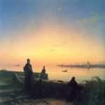 "Ivan Konstantinovich Aivazovsky (1817 - 1900) Mkhitarian on the island of St. Lazarus. Venice Oil on canvas, 1843 68 x 100 cm (26.77\"" x 39.37\\\"") House Museum Saryan, Armenia"