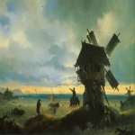 "Ivan Konstantinovich Aivazovsky (1817 - 1900) Windmill on the seashore Oil on canvas, 1837 67 x 96 cm (26.37"" x 37.79\"") The State Russian Museum, St. Petersburg, Russia"