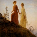 Anne-Franзois-Louis Janmot (1814-1892)   Le Poème de l'âme - Sur la montagne [The Poem of the Soul - On the Mountain]  Oil on canvas  44 3/8 x 57 inches (113 x 145 cm)  Musée des Beaux-Arts, Lyon, France