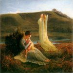 Anne-Franзois-Louis Janmot (1814-1892)   Le Poème de l'âme - L'Ange et la mère [The Poem of the Soul - The Angel and the Mother]  Oil on canvas  44 3/8 x 56 1/4 inches (113 x 143 cm)  Musée des Beaux-Arts, Lyon, France