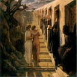 Anne-Franзois-Louis Janmot (1814-1892)   Le Poème de l'âme - Le Mauvais sentier [The Poem of the Soul - The Wrong Path]  Oil on canvas  44 3/8 x 56 1/4 inches (113 x 143 cm)  Musée des Beaux-Arts, Lyon, France