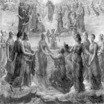 Anne-Francois-Louis Janmot (1814-1892)   Le Poème de l'âme - Sursum Corda [The Poem of the Soul - Sursum Corda]  Charcoal and highlights of white and blue gouache on paper, 1879  44 7/8 x 56 5/8 inches (114 x 144 cm)  Musée des Beaux-Arts,