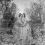 Anne-Franзois-Louis Janmot (1814-1892)   Le Poème de l'âme - Amour [The Poem of the Soul - Love]  Charcoal and highlights of white gouache on paper, 1861  44 7/8 x 57 3/8 inches (114 x 146 cm)  Musée des Beaux-Arts, Lyon, France