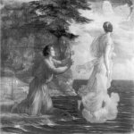 Anne-Francois-Louis Janmot (1814-1892)   Le Poème de l'âme - Adieu [The Poem of the Soul - Goodbye]  Charcoal and highlights of white gouache on paper, 1861  46 x 57 inches (117 x 145 cm)  Musée des Beaux-Arts, Lyon, France