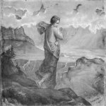 Anne-Francois-Louis Janmot (1814-1892)   Le Poème de l'âme - Le Doute [The Poem of the Soul - Doubt]  Charcoal on paper, 1861  44 7/8 x 57 3/4 inches (114 x 147 cm)  Musée des Beaux-Arts, Lyon, France