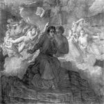 Anne-Francois-Louis Janmot (1814-1892)   Le Poème de l'âme - L'Espirit du mal [The Poem of the Soul - The Spirit of Evil]  Charcoal on paper, 1861  44 7/8 x 57 3/4 inches (114 x 147 cm)  Le Poème de l'âme - L'Espirit du mal
