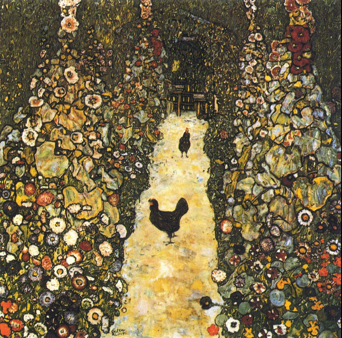 Gustav Klimt (July 14, 1862 – February 6, 1918) Garden Path with Chickens Oil on canvas, 1916 110 × 110 cm (43.3 × 43.3 in) Destroyed Vienna