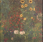 Gustav Klimt (July 14, 1862  February 6, 1918) Farm Garden with Sunflowers Oil on canvas, 1906 110 &amp;#215; 110 cm (43.3 &amp;#215; 43.3 in) Belverdere, Vienna