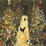 Gustav Klimt (July 14, 1862 � February 6, 1918) Garden Path with Chickens Oil on canvas, 1916 110 × 110 cm (43.3 × 43.3 in) Destroyed Vienna