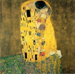 Gustav Klimt (July 14, 1862  February 6, 1918) The Kiss Oil and gold leaf on canvas, 1907-1908 180 cm &amp;#215; 180 cm (70.9 in &amp;#215; 70.9 in) &amp;#214;sterreichische Galerie Belvedere, Vienna, Austria