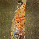 Gustav Klimt (July 14, 1862 � February 6, 1918) Hope II Oil, gold and platinum on canvas, 1908 110.5 × 110.5 cm (43.5 × 43.5 in) The Museum of Modern Art, New York City