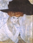 Gustav Klimt (July 14, 1862 � February 6, 1918) Black Feather Hat Oil on canvas, 1910 79 × 63 cm (31.1 × 24.8 in) Private collection