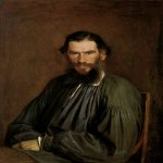 Ivan Nikolaevich Kramskoi  (1837 - 1887)   Portrait of Leo Tolstoy  Oil on canvas, 1873   98 x 79 cm  The State Tretyakov Gallery, Moscow, Russia
