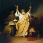 Ivan Nikolaevich Kramskoi  (1837 - 1887)   A prayer of Moses after the Israelites go through the Black Sea  Oil on canvas, 1861  142 x 105 cm  National Art Museum of the Republic of Belarus, Belarus