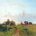Lev Lvovich Kamenev (1832-1886)  Harvest (Landscape with stacks), 1872  Oil on canvas  70 x 114 cm   Sumy Art Museum, Russia