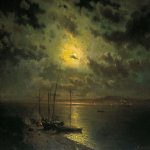 Lev Lvovich Kamenev (1832-1886)  Moonlight night on the river, 1870-s  Oil on canvas  53 x 86 cm   The Tretyakov Gallery in Moscow, Russia