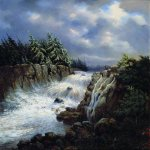 Lev Lvovich Kamenev (1832-1886)  Waterfall, 1850  Oil on canvas  Tver Regional Art Gallery, Russia