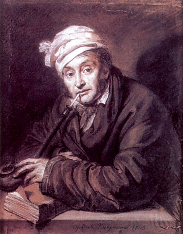 Orest Adamovich Kiprenskii (1778-1836)  Portrait of the village landlord Veneva Tula province Alexei Davydov  Figure, 1809  Private Collection