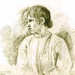 Orest Adamovich Kiprenskii (1778-1836)  Farm boy, 1814  White, pencil on paper  23.7 х 20 cm  The Tretyakov Gallery in Moscow, Russia