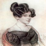 Orest Adamovich Kiprenskii (1778-1836)  Portrait of Anna Alexeevna Olenina, 1828  Italian pencil, sanguine on paper  The Tretyakov Gallery in Moscow, Russia