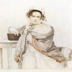 Orest Adamovich Kiprenskii (1778-1836)  Portrait of Sophia Stepanovna Scherbatova, 1819  Italian pencil, sanguine on paper  The Tretyakov Gallery in Moscow, Russia