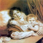 Orest Adamovich Kiprenskii (1778-1836)  Mother and child (Portrait of Mrs Press)  Italian pencil, chalk on paper, 1809  The Tretyakov Gallery in Moscow, Russia
