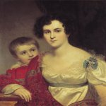 Orest Adamovich Kiprenskii (1778-1836)  Portrait Avdoti Ivanovna Molchanova with her daughter Elizabeth, 1814  Oil on canvas  71 x 57 cm  The Tretyakov Gallery in Moscow, Russia