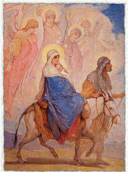 Nikolaj Andreevich  Koshelev (1840-1918)   Flight into Egypt  Sketch for a mosaic in the Church of the Resurrection (Savior on Spilled Blood)  Oil on canvas, 1890-s  97 � 70  cm  The Russian Museum, St. Petersburg, Russia