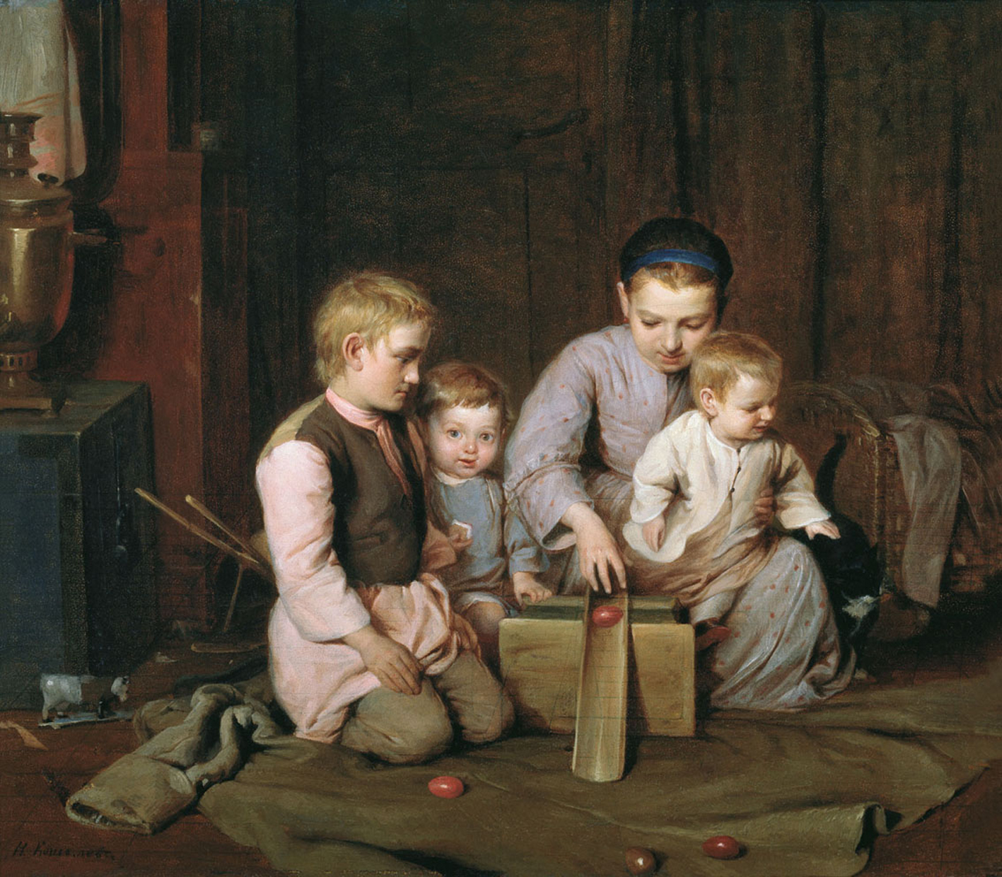 Nikolaj Andreevich  Koshelev (1840-1918)   Children ride Easter Eggs  Oil on canvas, 1855 (?)  The Russian Museum, St. Petersburg, Russia