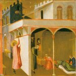 Ambrogio Lorenzetti (Siena, about 1290 - Siena, 1348)  Saint Nicolas giving the Poor Girls their Dowry  Tempera on panel, about 1332  Galeria degli Uffizi, Florence, Italy