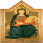 Ambrogio Lorenzetti (Siena, about 1290 - Siena, 1348)  Madonna and Child  Gold and tempera on panel, 1319  San Casciano Val di Pesa, Museo Vicariale d'Arte Sacra, Italy