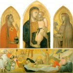 Ambrogio Lorenzetti (Siena, about 1290 - Siena, 1348)  Madonna and Child with Saints  Gold and tempera on panel, about 1325 or 1340  90 x 53 cm (central panel), 88 x 39 cm (sides panels, each)   Pinacoteca Nazionale, Siena, Italy