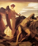 "Lord Frederick Leighton (1830-1896) Elijah in the Wilderness Oil on canvas, c1878 210 x 235 cm (6\' 10.68"" x 7\' 8.52\"") Walker Art Gallery (Liverpool, United Kingdom)"