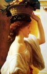 "Lord Frederick Leighton (1830-1896) Eucharis � A Girl with a Basket of Fruit Oil on canvas, c1863 57.8 x 83.8 cm (22.76"" x 32.99\"") Private collection"