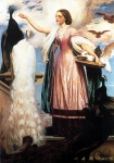"Lord Frederick Leighton (1830-1896) A Girl Feeding Peacocks Oil on canvas, c1862-c1863 160 x 188 cm (5\' 2.99"" x 6\' 2.02\"") Private collection"