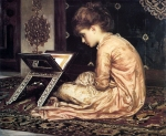 "Lord Frederick Leighton (1830-1896) Study: At a Reading Desk Oil on canvas, 1877 65.1 x 63.2 cm (25.63"" x 24.88\"") Sudley House, Mossley Hill (Liverpool, United Kingdom)"