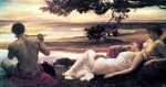 "Lord Frederick Leighton (1830-1896) Idyll Oil on canvas, c1880-c1881 212.1 x 104.1 cm (6\' 11½"" x 3\' 4.98\"") Collection of Mr and Mrs Henry Keswick (United States)"
