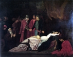 "Lord Frederick Leighton (1830-1896) The Reconciliation of the Montagues and Capulets over the Dead Bodies of Romeo and Juliet Oil on canvas, 1853-1855 231.1 x 177.8 cm (7\' 6.98"" x 5\' 10\"") Agnes Scott College (Decatur, Georgia, Unit"